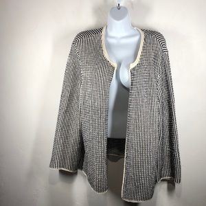 Ann Taylor blue stripe open cardigan size xl